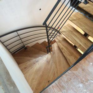 Escalier industriel acier bois